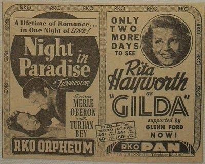1946_rita_hayworth_gilda_vintage_movie_advertisement_1940s_rko_theatre_merle_oberon_night_in_paradise_minneapolis_minnesota